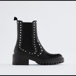 NWT Zara Treaded Low Heel Studded Ankle Boots